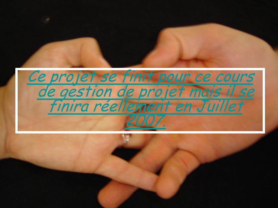 Ce projet se finit pour ce cours de gestion de projet mais il se finira réellement en Juillet 2007.