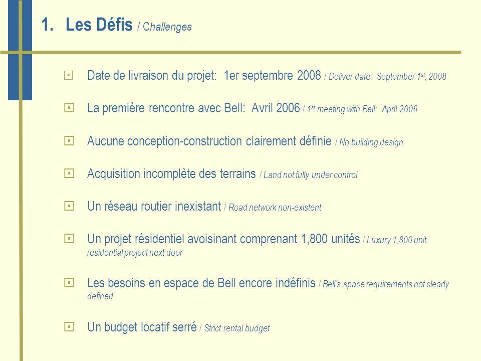 1.Les Défis / C hallenges Date de livraison du projet: 1er septembre 2008 / Deliver date: September 1 st, 2008 La première rencontre avec Bell: Avril