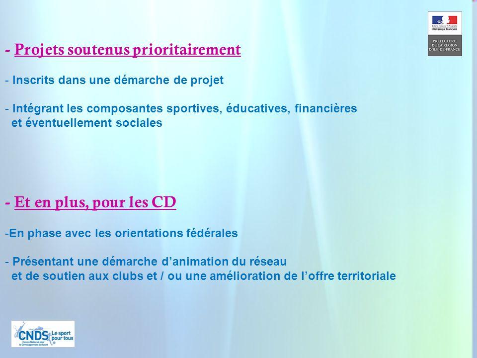 11 - Et en plus, pour les CD -En phase avec les orientations fédérales - Présentant une démarche danimation du réseau et de soutien aux clubs et / ou