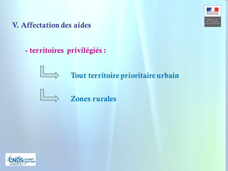 13 V. Affectation des aides - territoires privilégiés : Tout territoire prioritaire urbain Zones rurales