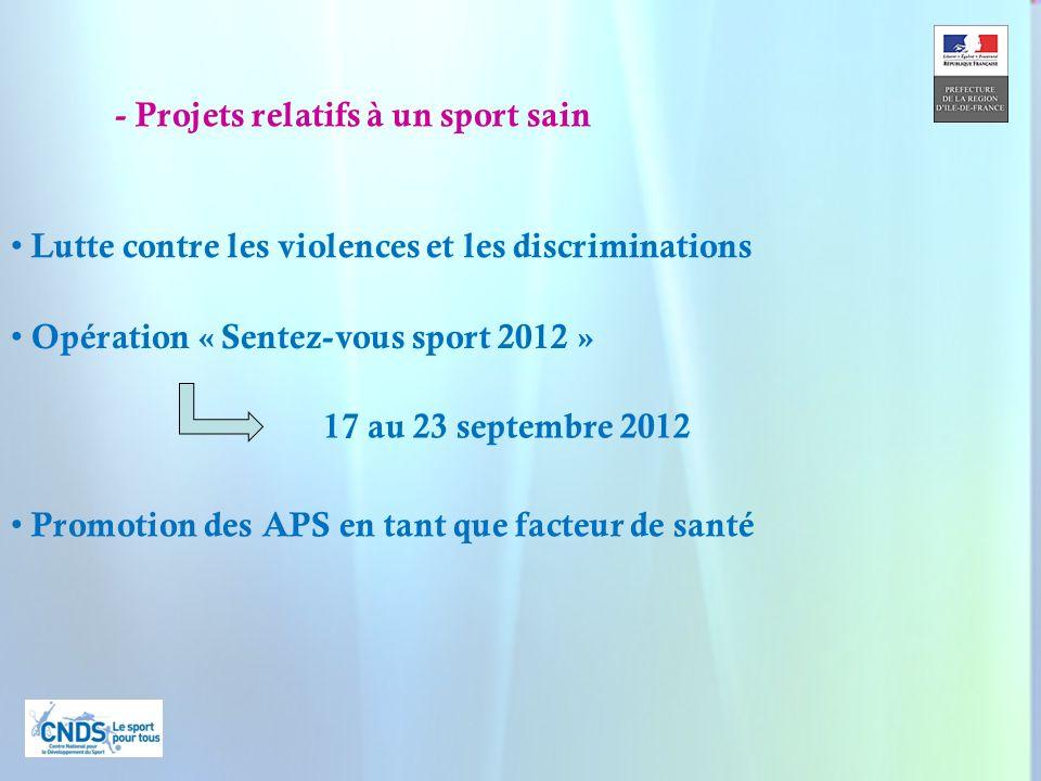 20 - Projets relatifs à un sport sain Opération « Sentez-vous sport 2012 » 17 au 23 septembre 2012 Promotion des APS en tant que facteur de santé Lutte contre les violences et les discriminations