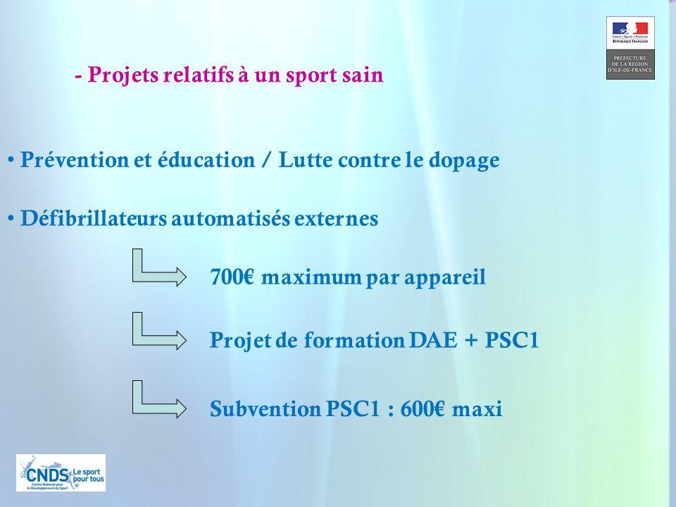 21 Défibrillateurs automatisés externes Prévention et éducation / Lutte contre le dopage 700 maximum par appareil Projet de formation DAE + PSC1 Subve