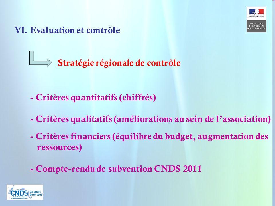 25 - Compte-rendu de subvention CNDS 2011 - Critères qualitatifs (améliorations au sein de lassociation) - Critères quantitatifs (chiffrés) VI. Evalua