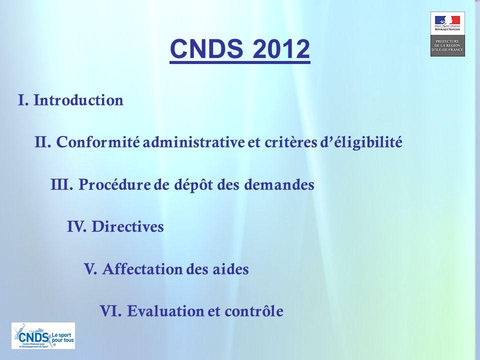 3 CNDS 2012 I. Introduction II. Conformité administrative et critères déligibilité III. Procédure de dépôt des demandes IV. Directives V. Affectation