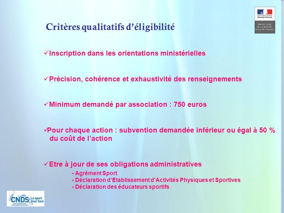 7 Inscription dans les orientations ministérielles Précision, cohérence et exhaustivité des renseignements Minimum demandé par association : 750 euros
