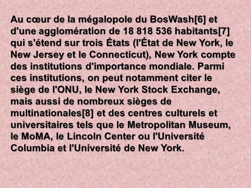 Au cœur de la mégalopole du BosWash[6] et d une agglomération de 18 818 536 habitants[7] qui s étend sur trois États (l État de New York, le New Jersey et le Connecticut), New York compte des institutions d importance mondiale.