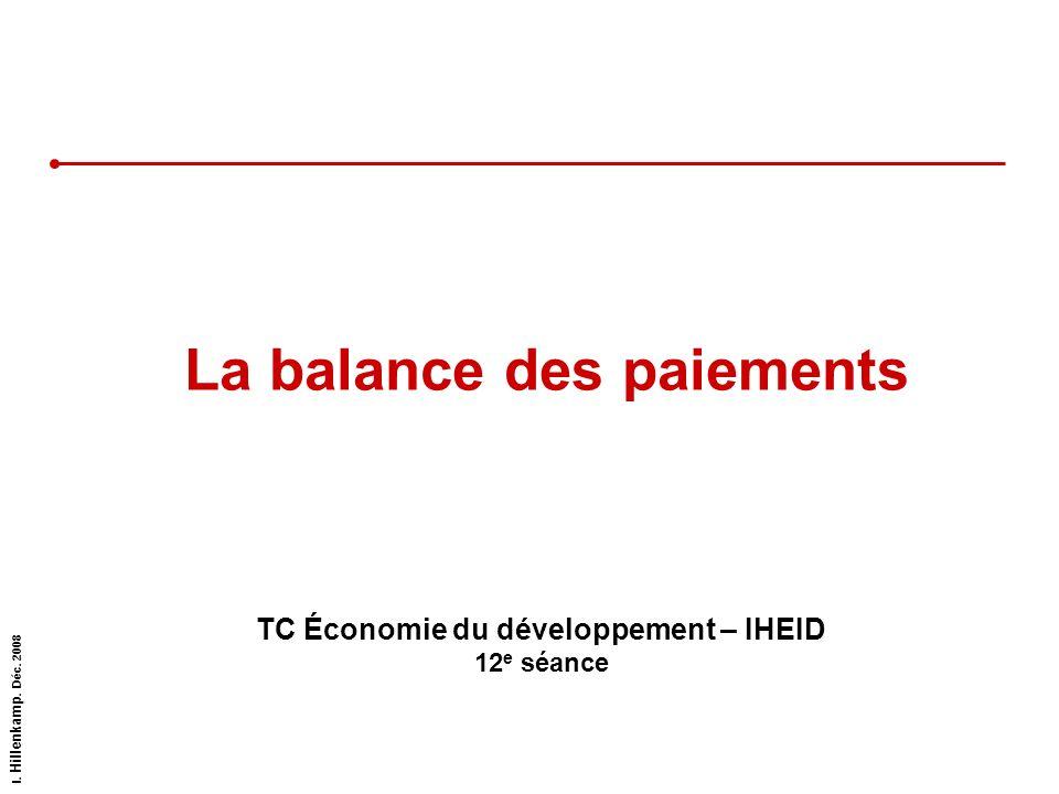 I. Hillenkamp. Déc. 2008 La balance des paiements TC Économie du développement – IHEID 12 e séance