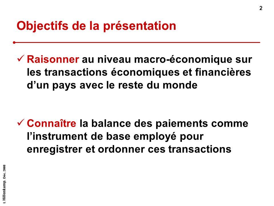 I. Hillenkamp. Déc. 2008 2 Objectifs de la présentation Raisonner au niveau macro-économique sur les transactions économiques et financières dun pays