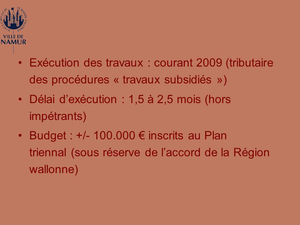 Exécution des travaux : courant 2009 (tributaire des procédures « travaux subsidiés ») Délai dexécution : 1,5 à 2,5 mois (hors impétrants) Budget : +/- 100.000 inscrits au Plan triennal (sous réserve de laccord de la Région wallonne)