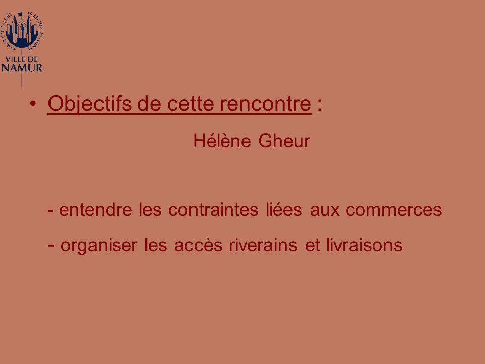 Objectifs de cette rencontre : Hélène Gheur - entendre les contraintes liées aux commerces - organiser les accès riverains et livraisons