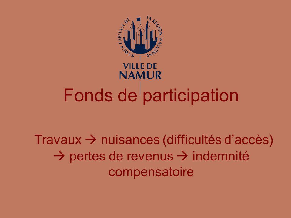 Fonds de participation Travaux nuisances (difficultés daccès) pertes de revenus indemnité compensatoire