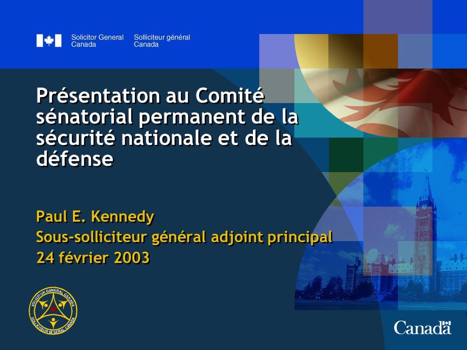 Présentation au Comité sénatorial permanent de la sécurité nationale et de la défense Paul E.