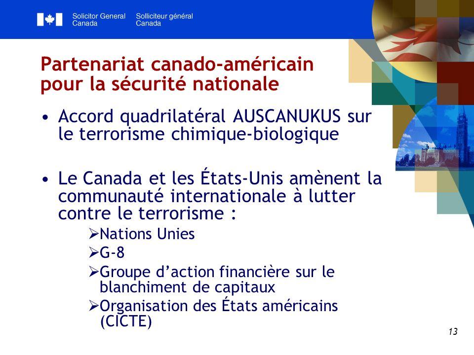 13 Partenariat canado-américain pour la sécurité nationale Accord quadrilatéral AUSCANUKUS sur le terrorisme chimique-biologique Le Canada et les États-Unis amènent la communauté internationale à lutter contre le terrorisme : Nations Unies G-8 Groupe daction financière sur le blanchiment de capitaux Organisation des États américains (CICTE)