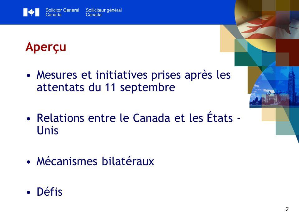 2 Aperçu Mesures et initiatives prises après les attentats du 11 septembre Relations entre le Canada et les États - Unis Mécanismes bilatéraux Défis
