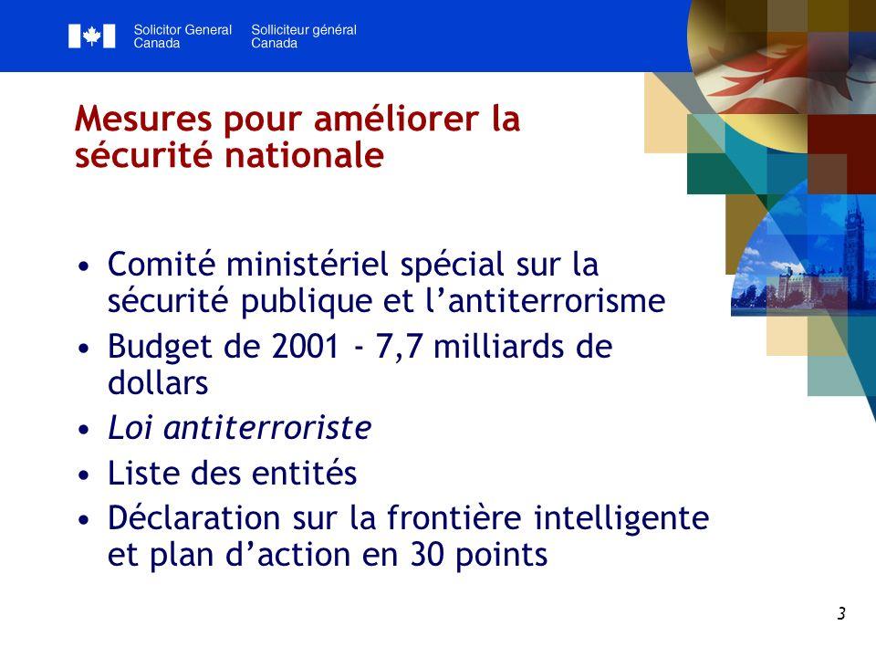 4 Relations entre le Canada et les États-Unis Des méthodes différentes, mais des objectifs semblables dans lensemble Relations complexes gérées de façon horizontale Renforcement des relations bilatérales actuelles