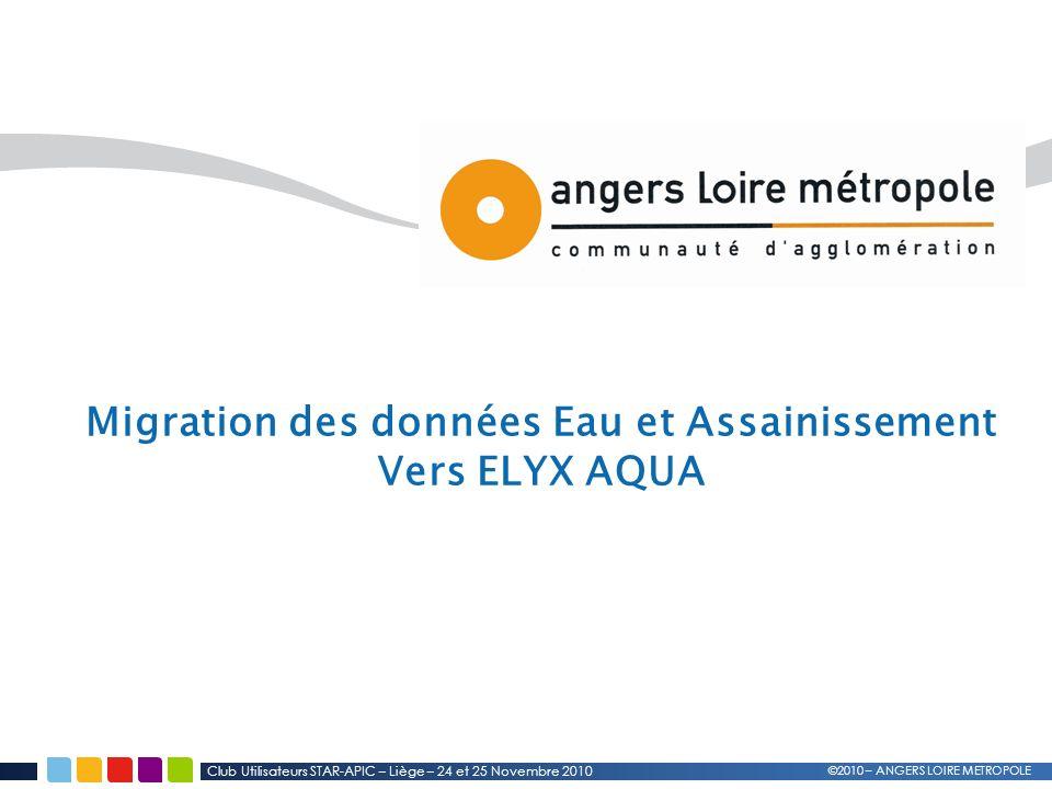 Club Utilisateurs STAR-APIC – Liège – 24 et 25 Novembre 2010 ©2010 – ANGERS LOIRE METROPOLE Migration des données Eau et Assainissement Vers ELYX AQUA