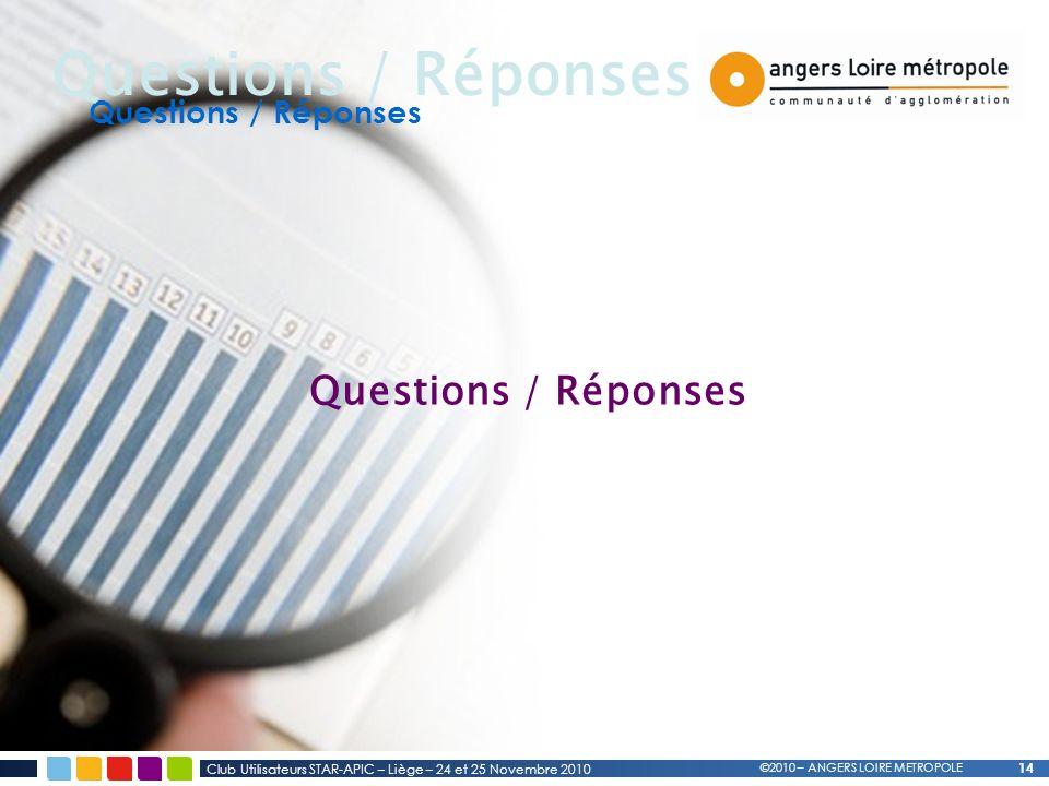 14 Questions / Réponses Club Utilisateurs STAR-APIC – Liège – 24 et 25 Novembre 2010 ©2010 – ANGERS LOIRE METROPOLE