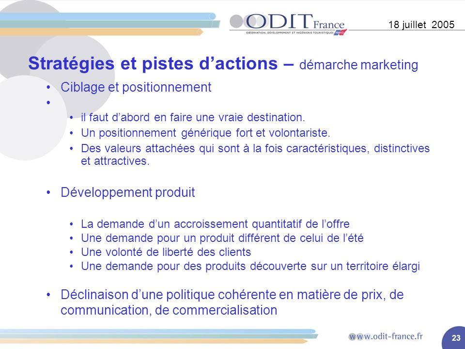 23 Stratégies et pistes dactions – démarche marketing 18 juillet 2005 Ciblage et positionnement il faut dabord en faire une vraie destination.