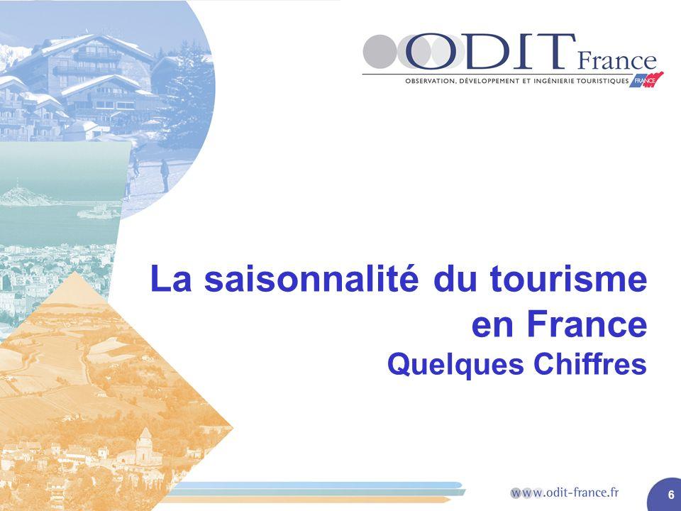 6 La saisonnalité du tourisme en France Quelques Chiffres