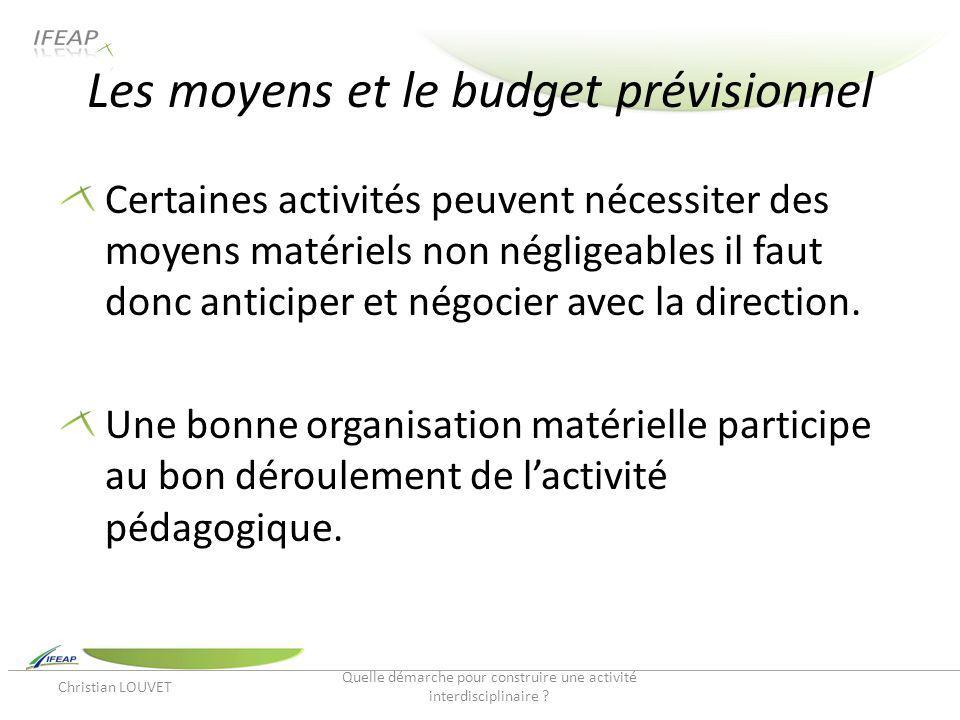 Les moyens et le budget prévisionnel Certaines activités peuvent nécessiter des moyens matériels non négligeables il faut donc anticiper et négocier a