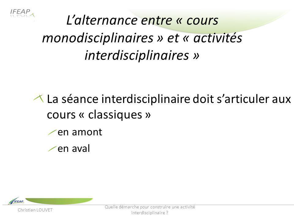 Lalternance entre « cours monodisciplinaires » et « activités interdisciplinaires » La séance interdisciplinaire doit sarticuler aux cours « classique