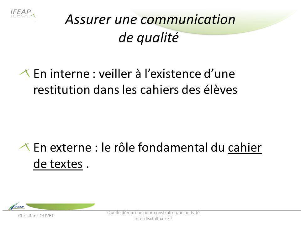 Assurer une communication de qualité En interne : veiller à lexistence dune restitution dans les cahiers des élèves En externe : le rôle fondamental d