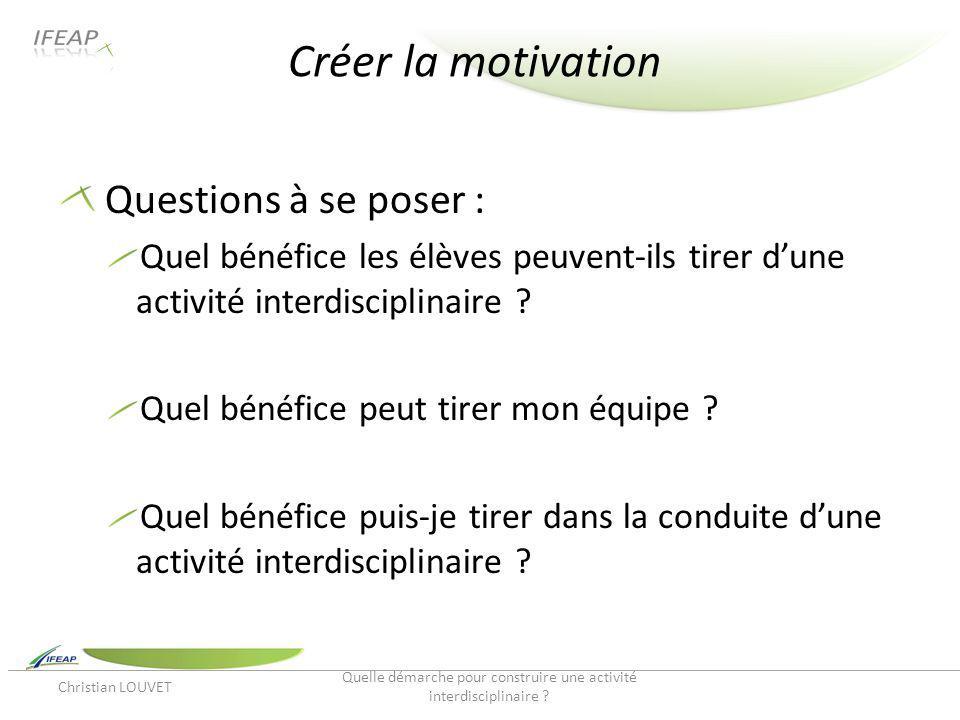 Créer la motivation Questions à se poser : Quel bénéfice les élèves peuvent-ils tirer dune activité interdisciplinaire ? Quel bénéfice peut tirer mon