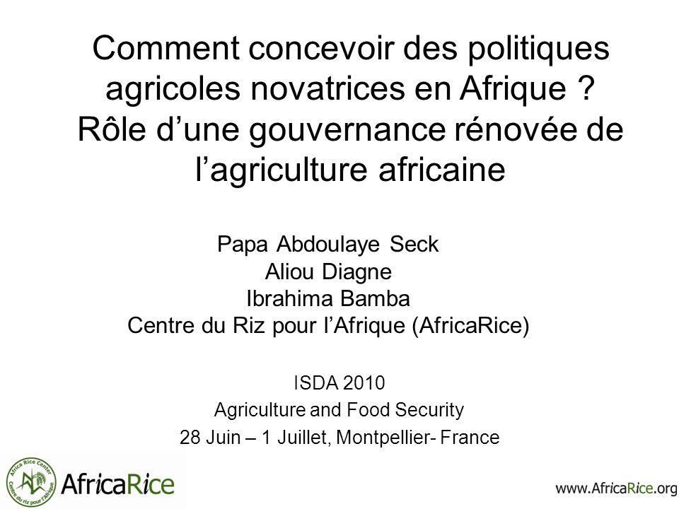 Sommaire Performance et potentiel de lagriculture africaine Étiologie de la mauvaise prise en charge des questions agricoles en Afrique Pour une gouvernance rénovée de lagriculture africaine Conclusion