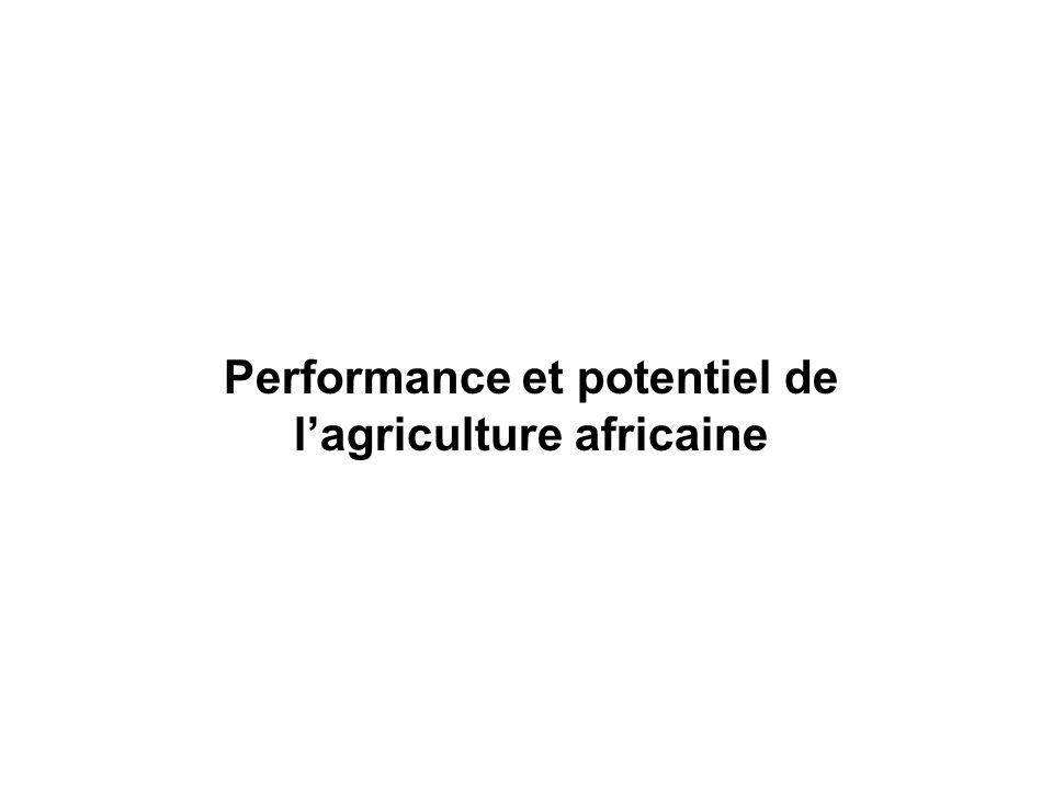 Performance et potentiel de lagriculture africaine: Les contre-performances lAfrique est relativement le continent le plus agricole: –lagriculture contribue pour près 16% au PIB compare a une moyenne denviron 1 a 8% pour les autres continents.