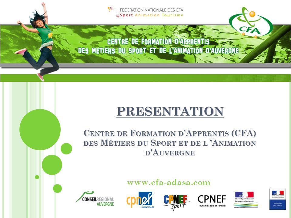 PRESENTATION C ENTRE DE F ORMATION D A PPRENTIS (CFA) DES M ÉTIERS DU S PORT ET DE L A NIMATION D A UVERGNE www.cfa-adasa.com