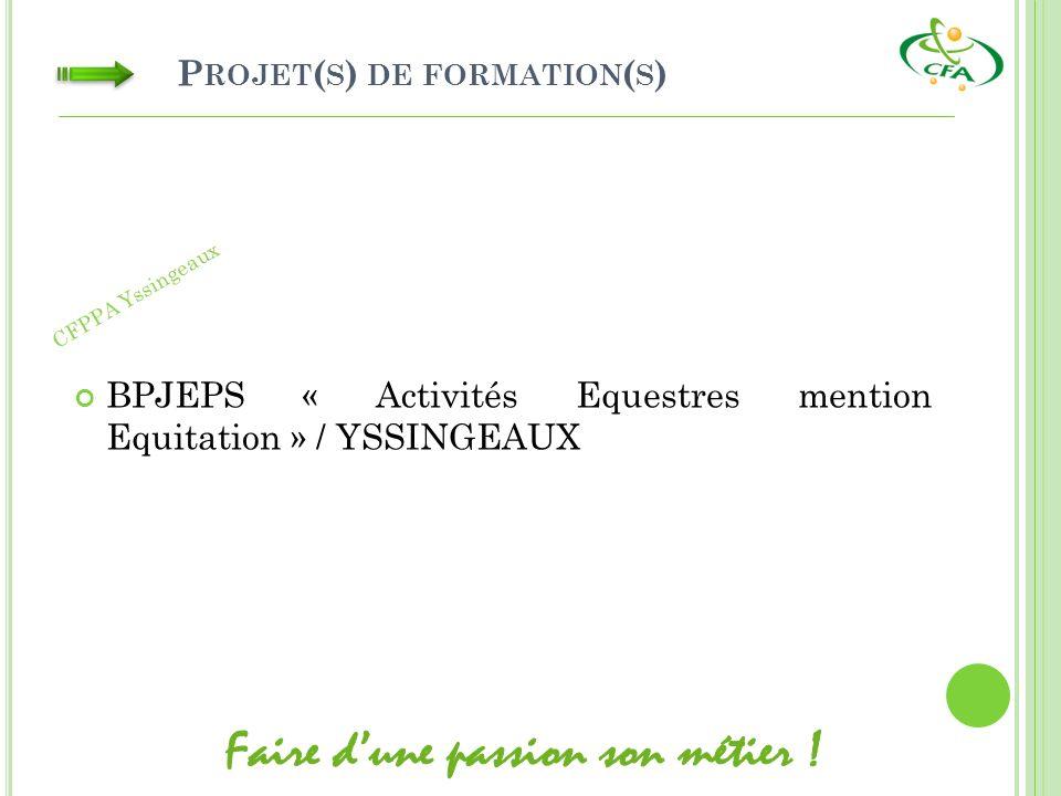 P ROJET ( S ) DE FORMATION ( S ) BPJEPS « Activités Equestres mention Equitation » / YSSINGEAUX CFPPA Yssingeaux