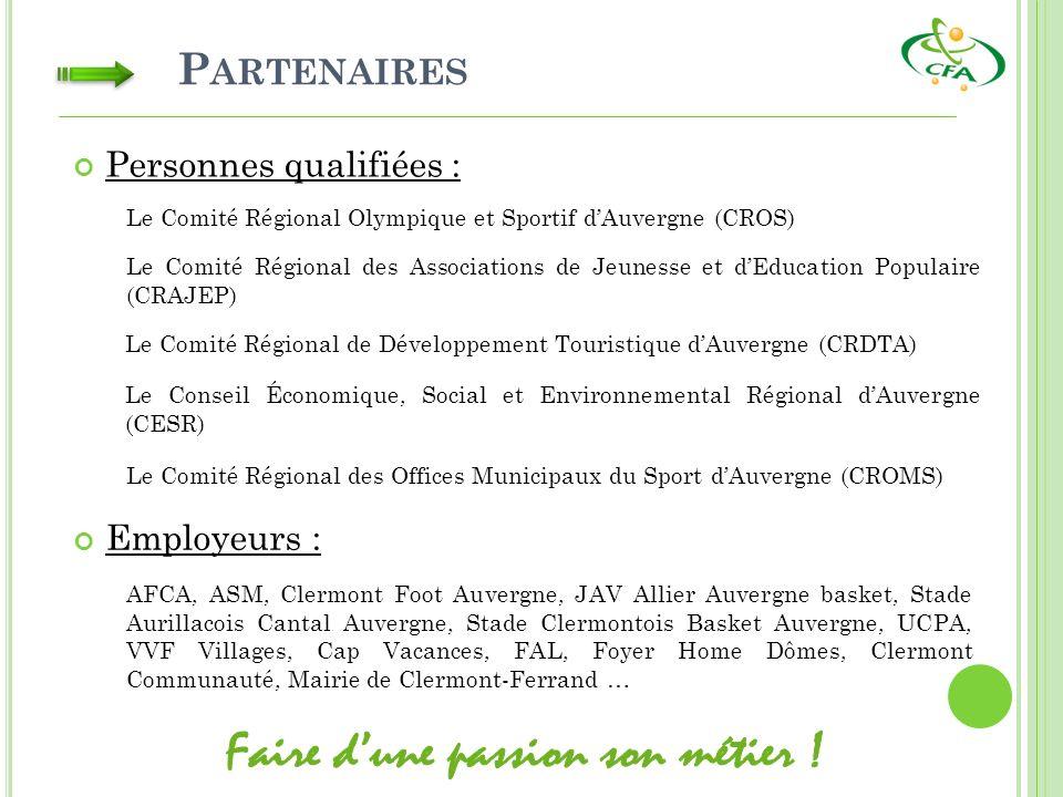 P ARTENAIRES Le Comité Régional Olympique et Sportif dAuvergne (CROS) Le Comité Régional des Associations de Jeunesse et dEducation Populaire (CRAJEP) Employeurs : Le Comité Régional de Développement Touristique dAuvergne (CRDTA) Le Conseil Économique, Social et Environnemental Régional dAuvergne (CESR) Le Comité Régional des Offices Municipaux du Sport dAuvergne (CROMS) Personnes qualifiées : AFCA, ASM, Clermont Foot Auvergne, JAV Allier Auvergne basket, Stade Aurillacois Cantal Auvergne, Stade Clermontois Basket Auvergne, UCPA, VVF Villages, Cap Vacances, FAL, Foyer Home Dômes, Clermont Communauté, Mairie de Clermont-Ferrand …