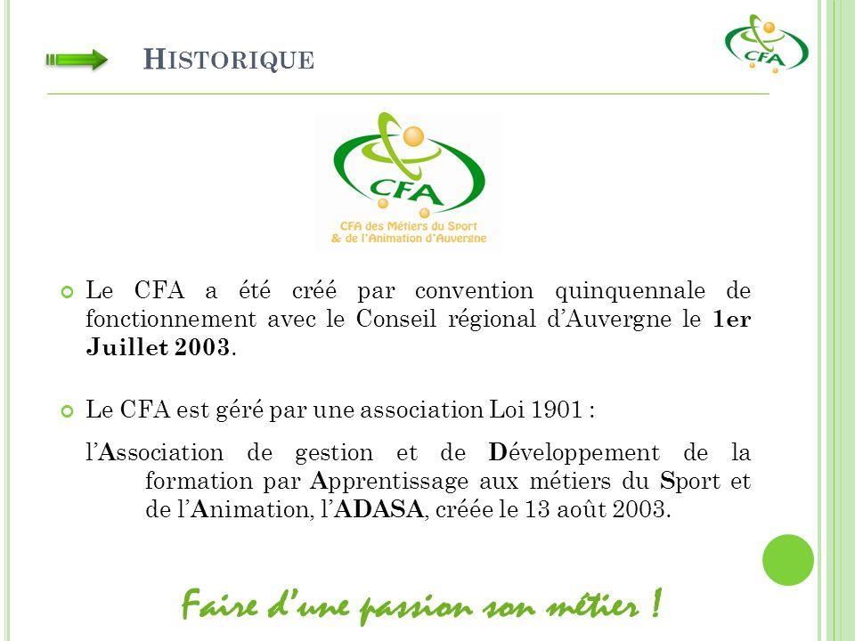 H ISTORIQUE Le CFA a été créé par convention quinquennale de fonctionnement avec le Conseil régional dAuvergne le 1er Juillet 2003.