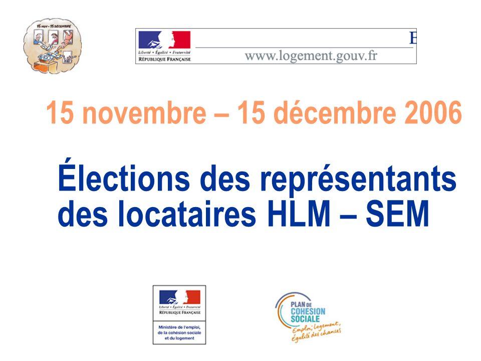 Élections des représentants des locataires HLM – SEM 15 novembre – 15 décembre 2006