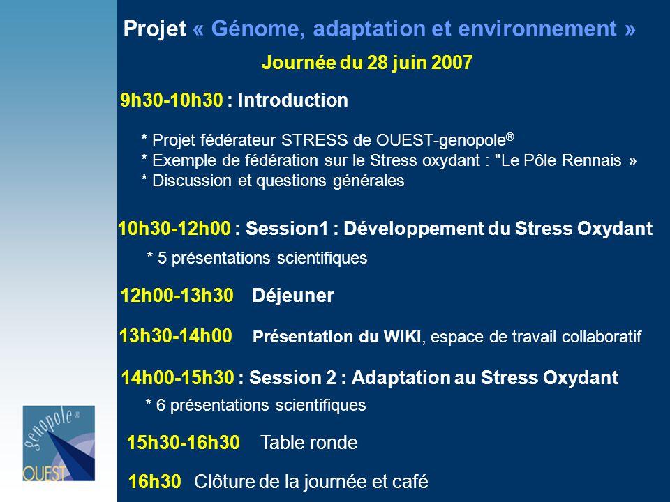 9h30-10h30 : Introduction Projet « Génome, adaptation et environnement » Journée du 28 juin 2007 * Projet fédérateur STRESS de OUEST-genopole ® * Exemple de fédération sur le Stress oxydant : Le Pôle Rennais » * Discussion et questions générales 10h30-12h00 : Session1 : Développement du Stress Oxydant * 5 présentations scientifiques 12h00-13h30Déjeuner 13h30-14h00 Présentation du WIKI, espace de travail collaboratif 14h00-15h30 : Session 2 : Adaptation au Stress Oxydant * 6 présentations scientifiques 15h30-16h30Table ronde 16h30Clôture de la journée et café
