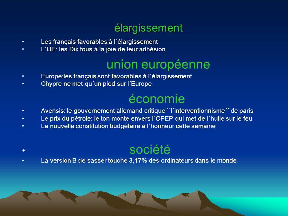 Thémes: Élargissement Union européenne Economie société
