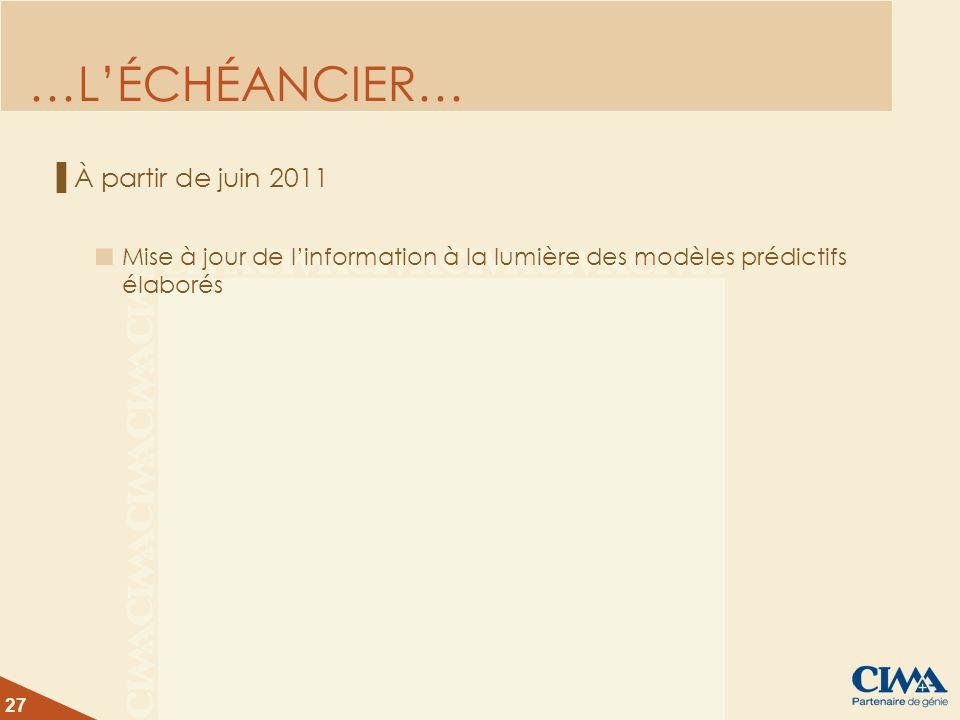 27 …LÉCHÉANCIER… À partir de juin 2011 Mise à jour de linformation à la lumière des modèles prédictifs élaborés
