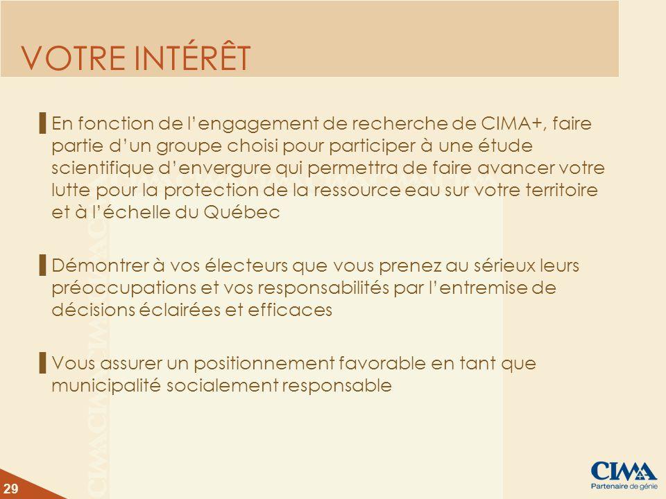 29 VOTRE INTÉRÊT En fonction de lengagement de recherche de CIMA+, faire partie dun groupe choisi pour participer à une étude scientifique denvergure