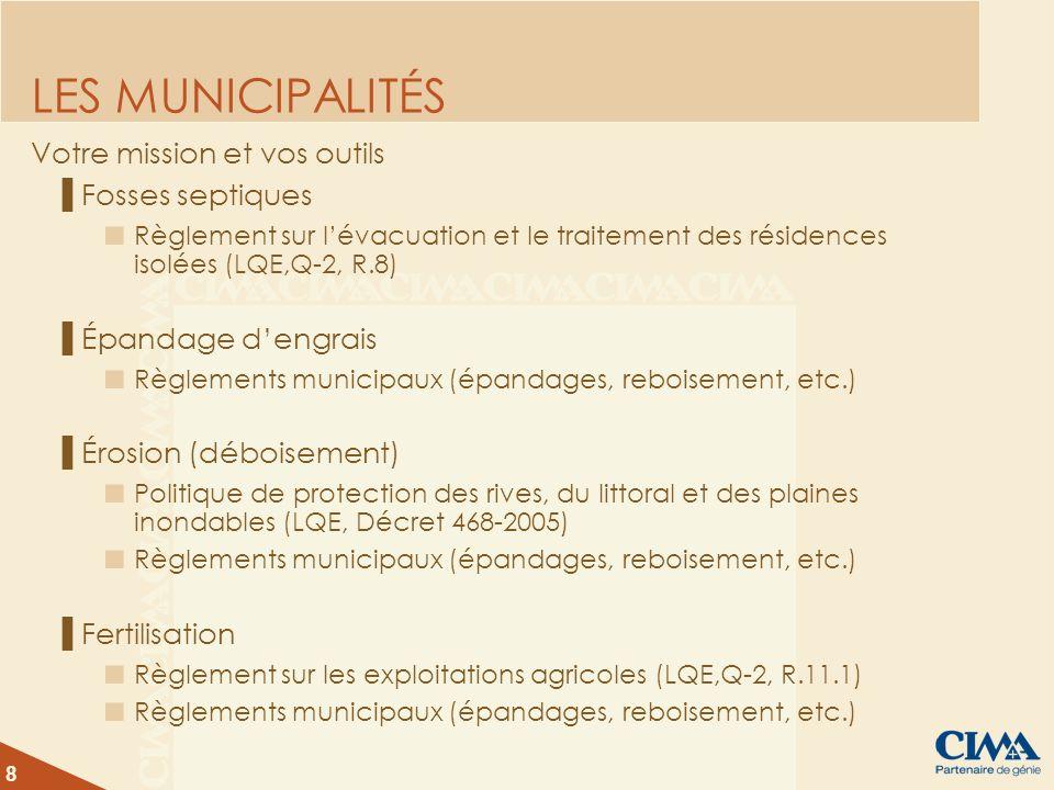 8 LES MUNICIPALITÉS Votre mission et vos outils Fosses septiques Règlement sur lévacuation et le traitement des résidences isolées (LQE,Q-2, R.8) Épan