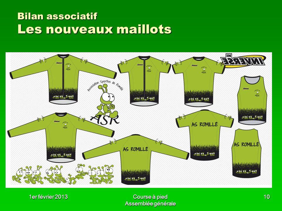 1er février 2013Course à pied Assemblée générale 10 Bilan associatif Les nouveaux maillots