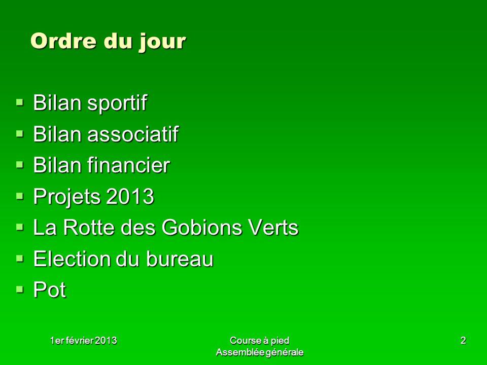 1er février 2013Course à pied Assemblée générale 2 Ordre du jour Bilan sportif Bilan sportif Bilan associatif Bilan associatif Bilan financier Bilan f