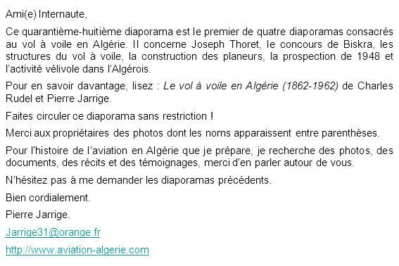 Ami(e) Internaute, Ce quarantième-huitième diaporama est le premier de quatre diaporamas consacrés au vol à voile en Algérie. Il concerne Joseph Thore