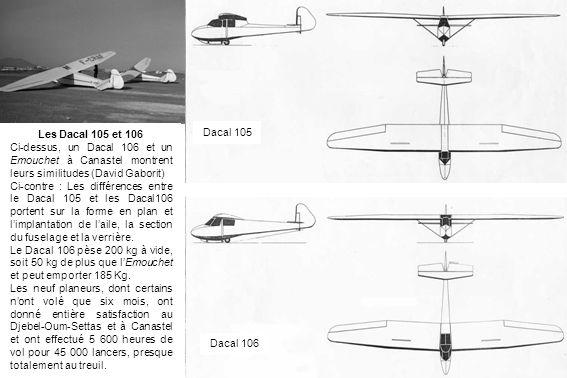 Les Dacal 105 et 106 Ci-dessus, un Dacal 106 et un Emouchet à Canastel montrent leurs similitudes (David Gaborit) Ci-contre : Les différences entre le
