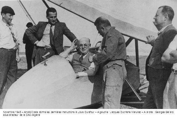 Novembre 1945 – André Costa donne les dernières instructions à Louis Durafour – A gauche : Jacques Duchène Marullaz – A droite : Georges Gérard, sous-