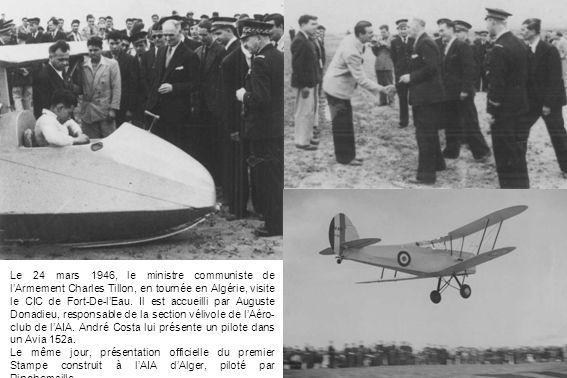 Le 24 mars 1946, le ministre communiste de lArmement Charles Tillon, en tournée en Algérie, visite le CIC de Fort-De-lEau. Il est accueilli par August