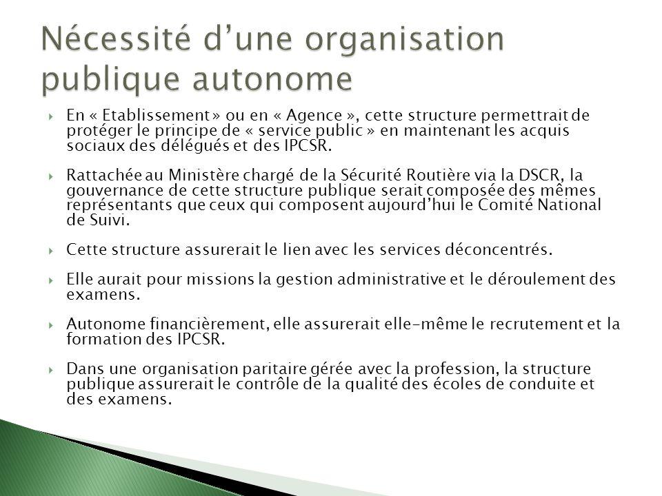 En « Etablissement » ou en « Agence », cette structure permettrait de protéger le principe de « service public » en maintenant les acquis sociaux des