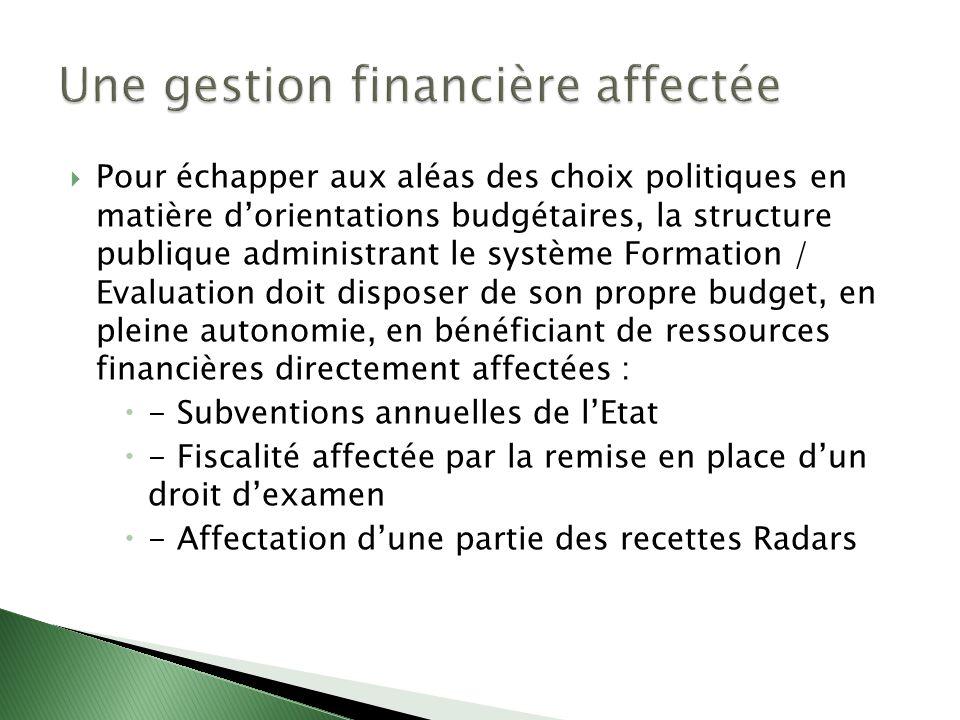 Pour échapper aux aléas des choix politiques en matière dorientations budgétaires, la structure publique administrant le système Formation / Evaluatio