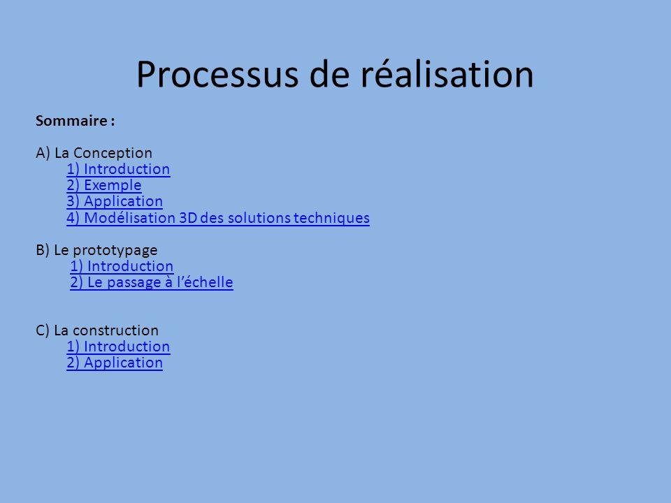 Processus de réalisation Sommaire : A) La Conception 1) Introduction 2) Exemple 3) Application 4) Modélisation 3D des solutions techniques B) Le prototypage 1) Introduction 2) Le passage à léchelle C) La construction 1) Introduction 2) Application