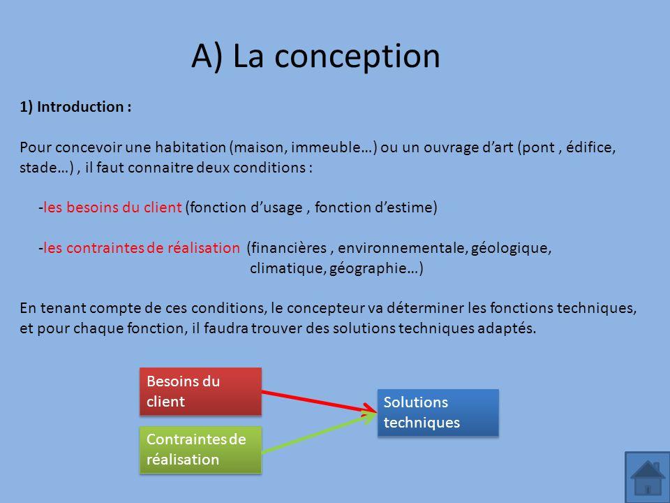 A) La conception 1) Introduction : Pour concevoir une habitation (maison, immeuble…) ou un ouvrage dart (pont, édifice, stade…), il faut connaitre deu