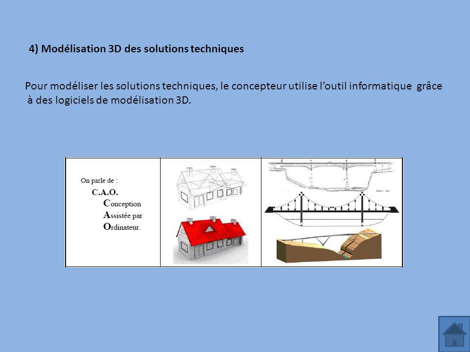 4) Modélisation 3D des solutions techniques Pour modéliser les solutions techniques, le concepteur utilise loutil informatique grâce à des logiciels d